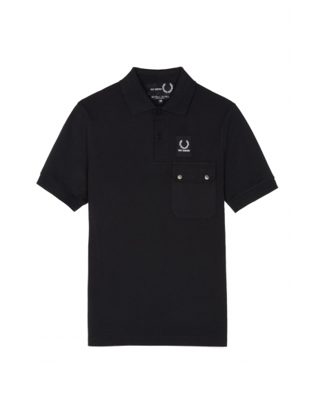 Raf Simons x Fred Perry Pocket detail Pique shirt Black