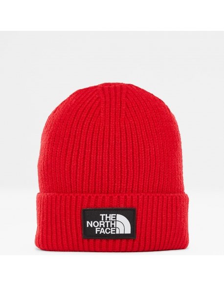 The North Face Logo Box Cuff Beanie Red