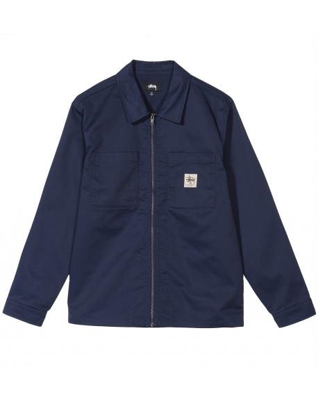 STUSSY POLY COTTON ZIP UP LS SHIRT