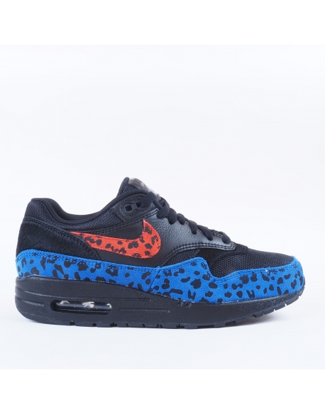 NIKE AIR MAX 1 PREMIUM BLACK HABANERO RED-RACER BLUE