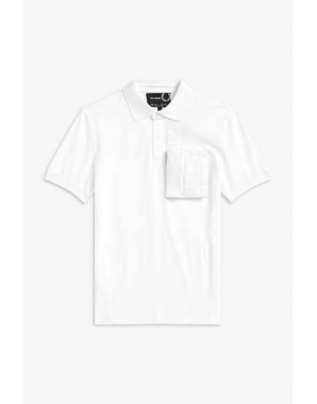 RAF SIMONS X Fred Perry SPACE POCKET PIQUE SHIRT WHITE