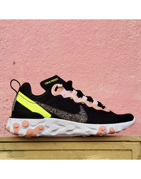 NIKE REACT ELEMENT 55 PREMIUM BLACK/VOLT-CORAL STARDUST