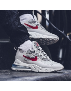 NIKE AIR MAX 270 REACT NEUTRAL GREY/UNIVERSITY RED-LT GRAPHITE
