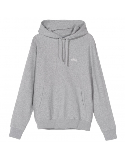STUSSY STOCK LOGO HOOD HOT GREY HEATHER