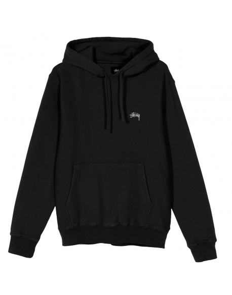 STUSSY STOCK LOGO HOOD HOT BLACK