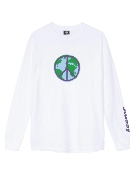 STUSSY WORLD PEACE LS TEE WHITE