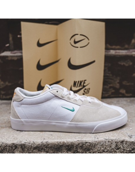 NIKE SB AIR ZOOM BRUIN EDGE WHITE/NEPTUNE GREEN-VIVID ORANGE