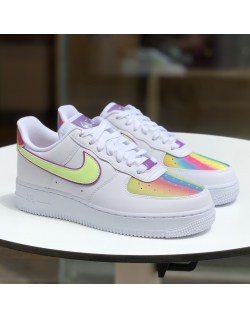 NIKE AIR FORCE 1 EASTER WHITE/BARELY VOLT-HYPER BLUE