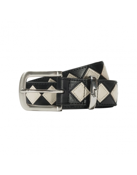 STUSSY ARGYLE STITCH LEATHER BELT BLACK