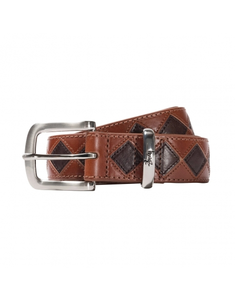 STUSSY ARGYLE STITCH LEATHER BELT BROWN