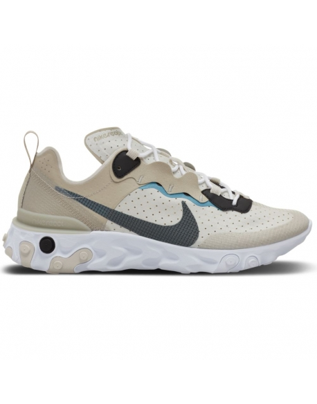 NIKE REACT ELEMENT 55 STONE/CERULEAN-LIGHT BONE-BLACK