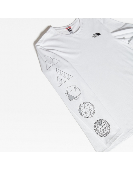 THE NORTH FACE M L/S TEE GEODOME TEE WHITE
