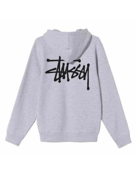 STUSSY BASIC HOODIE ASH HEATHER