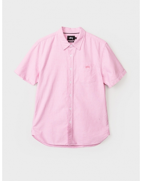 Stussy Classic Oxford  Manche courte Rose