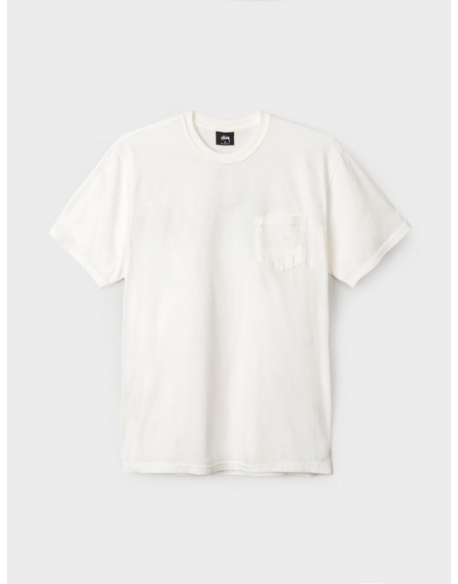 STUSSY ST CHECKER STOCK PIG DYE PKT TEE -NATURAL