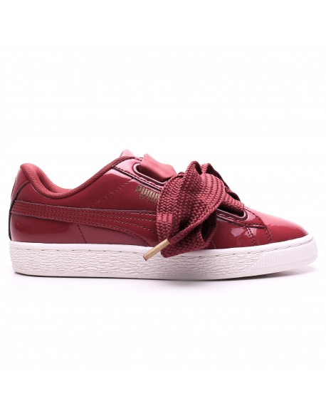 PUMA WNS BASKET HEART PATENT RED - Wine