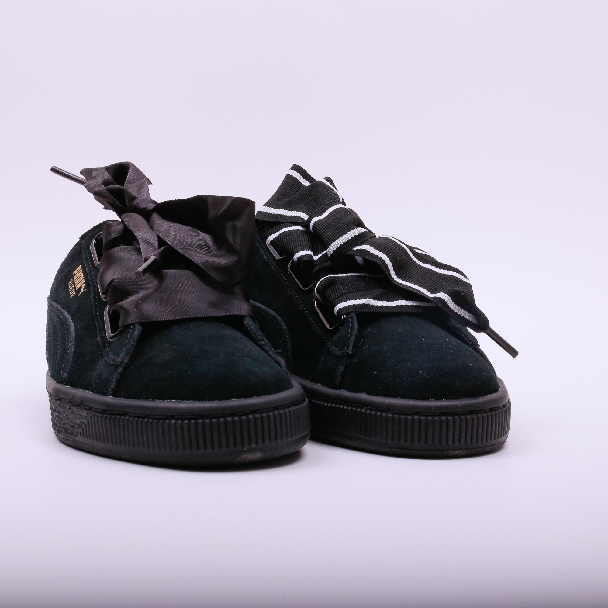puma suede heart satin ii black slash store