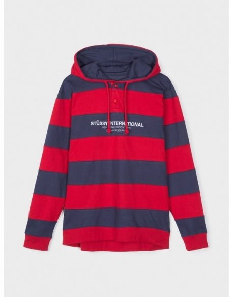 STUSSY HOODED STRIPE RUBBY RED