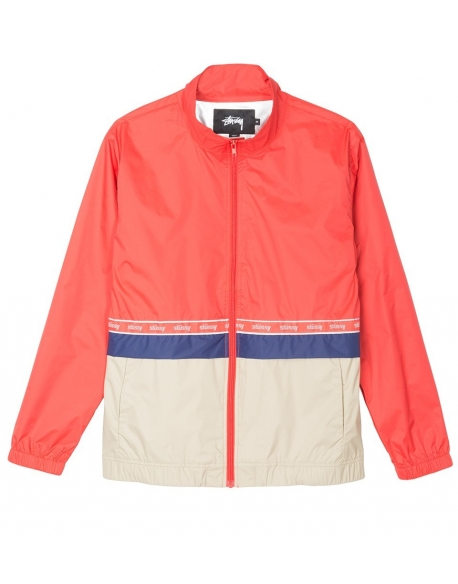 STUSSY NYLON WARM UP JACKET RED