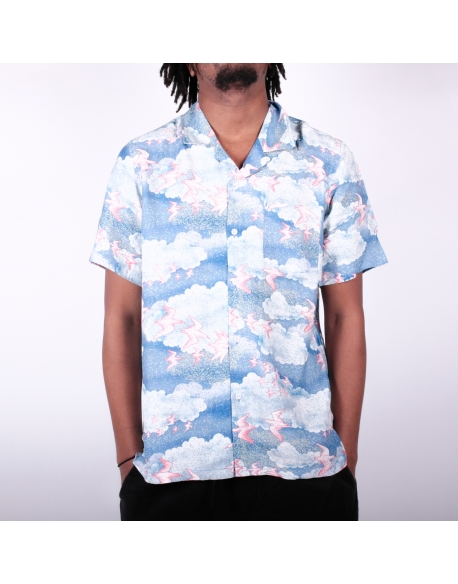 Stussy Cloud and Birds Shirt Blue