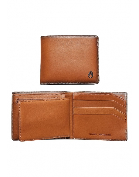 Nixon Satellite Big Bill Bi Fold ID Coin Wallet Tan
