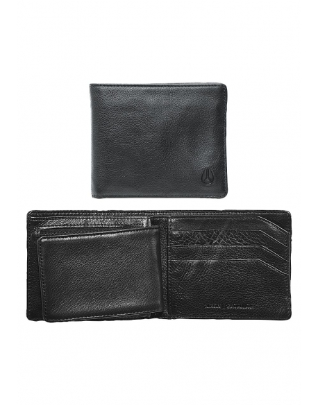 Nixon Satellite Big Bill Bi Fold ID Coin Wallet Black